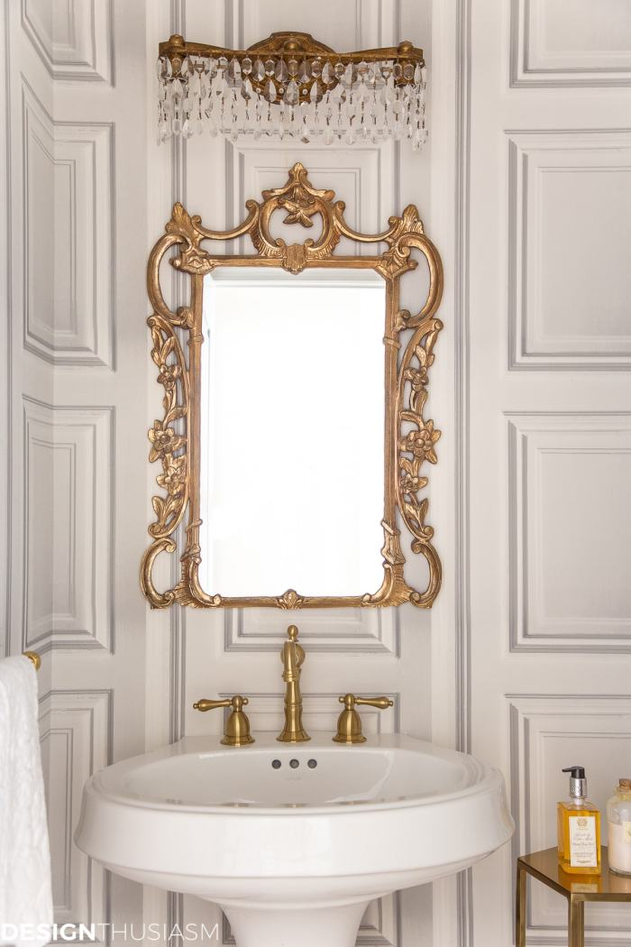 powder room ideas for sink and mirror