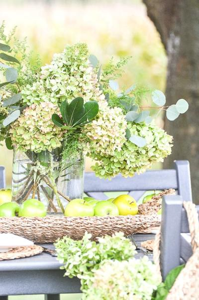 FALL HYDRANGEA AND GREEN APPLE-Stone Gable