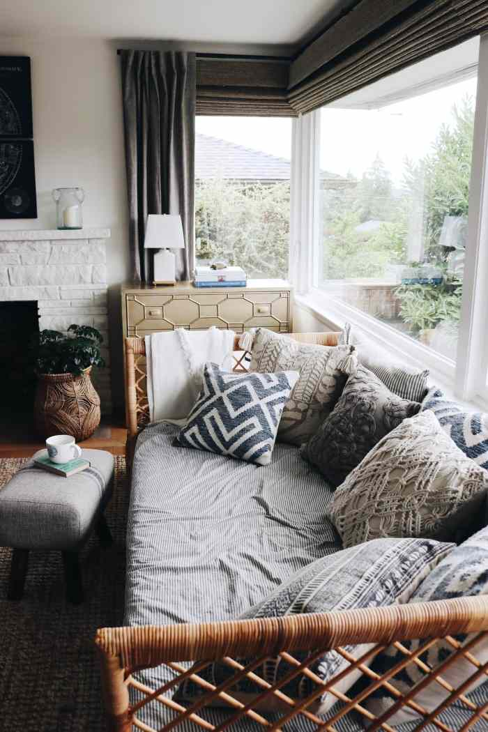Creating ambience with mood lighting - The-Inspired-Room-rattan-daybed-blue-and-white-home-decor-living-room-decorating
