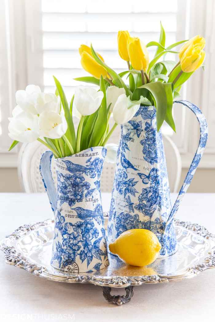 blue and white chinoiserie paper craft for spring