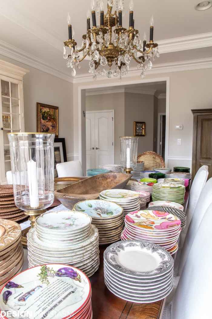 organizing plates and dishes