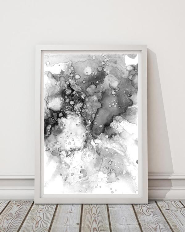 LouLouArtStudio - Black Splatter Abstract Print