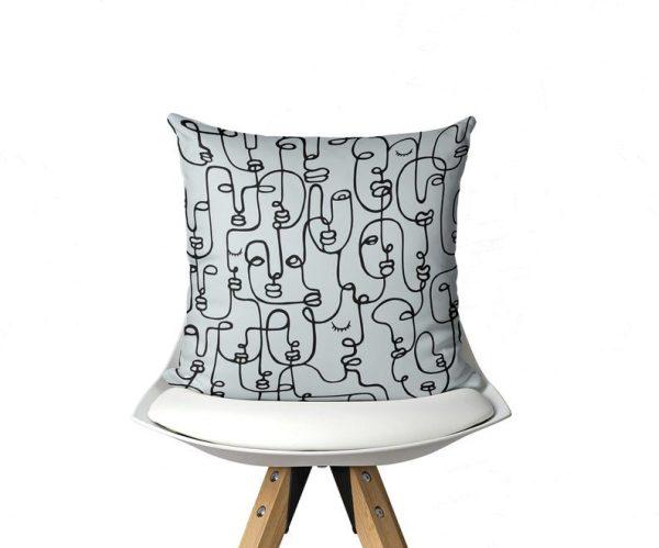 Light Gray Face Linework - Pillow Cover