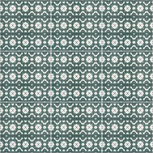 Printed Green and White Patterned Tile - Spanish Tile Inspiration