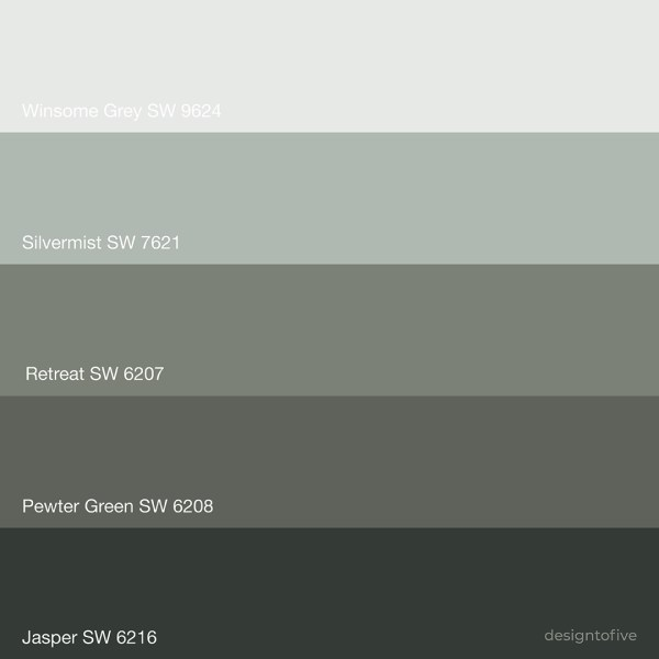 Color Palette - Sherwin Williams Pewter Green 6208, Serene Green Color Palette