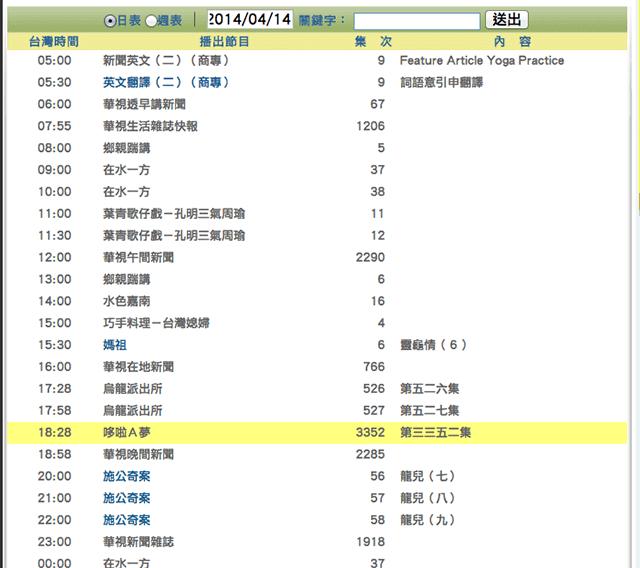 華視 - 電視節目表