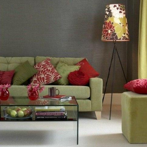 divani verde cuscini rossi