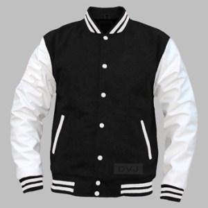 varsity jacket black wool white leather