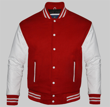 Custom Varsity Jackets For Men Red Wool And Genuine