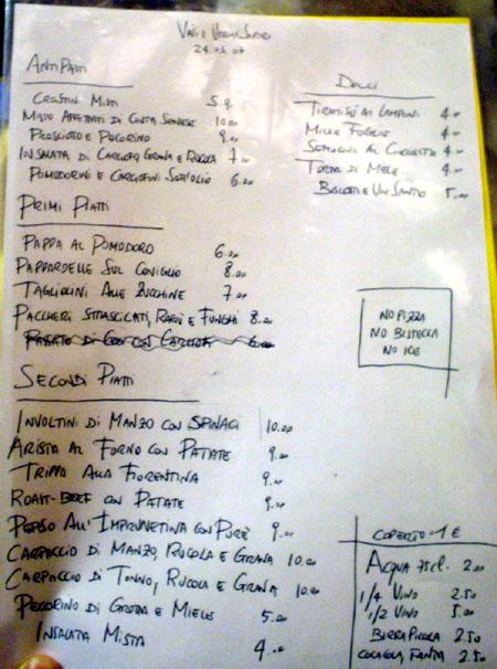 Florence Vini E  menu