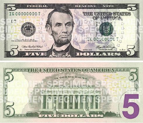 new purple 5 dollar bill usa