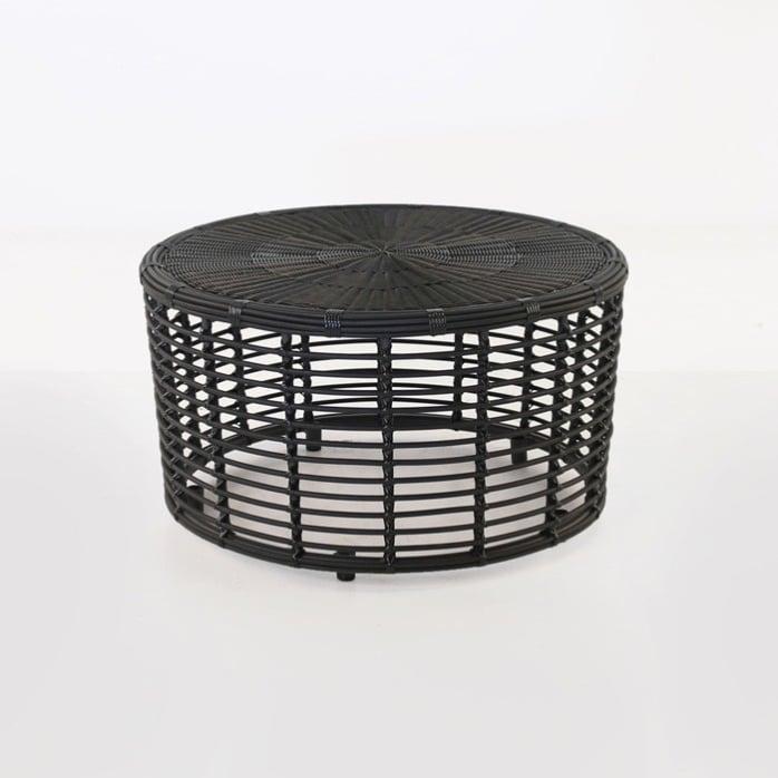 kane drum wicker coffee table charcoal black design warehouse nz