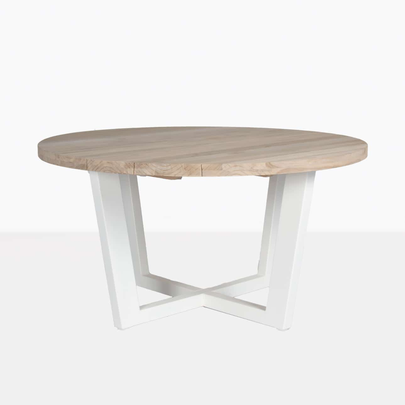 jimmy white outdoor round reclaimed teak dining table design warehouse nz