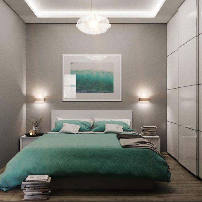 Дизайн маленькой спальни со шкафом-купе