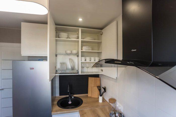 Кухня с распашными дверцами без ручек