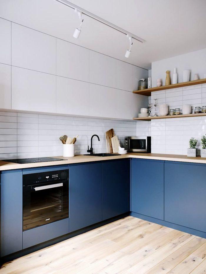 Köksdesign i vitblå utförande