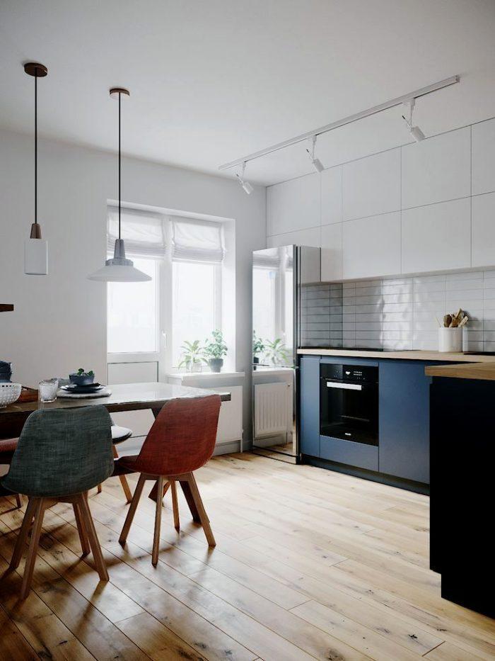 Modern köksdesign i skandinavisk stil och blå färg