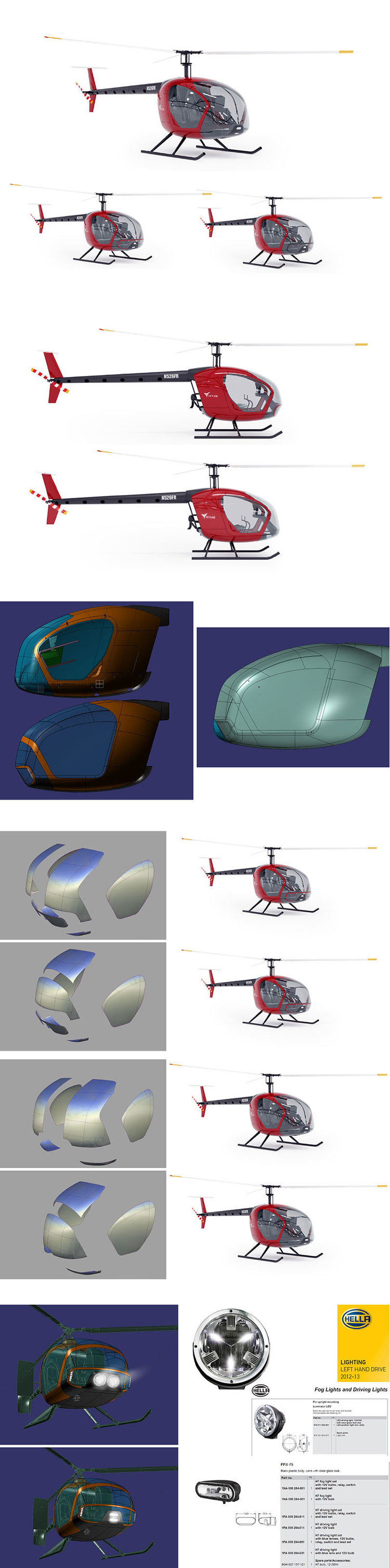 a full cad render of the model was used to present the design with two further explorations of parts for the front high beams