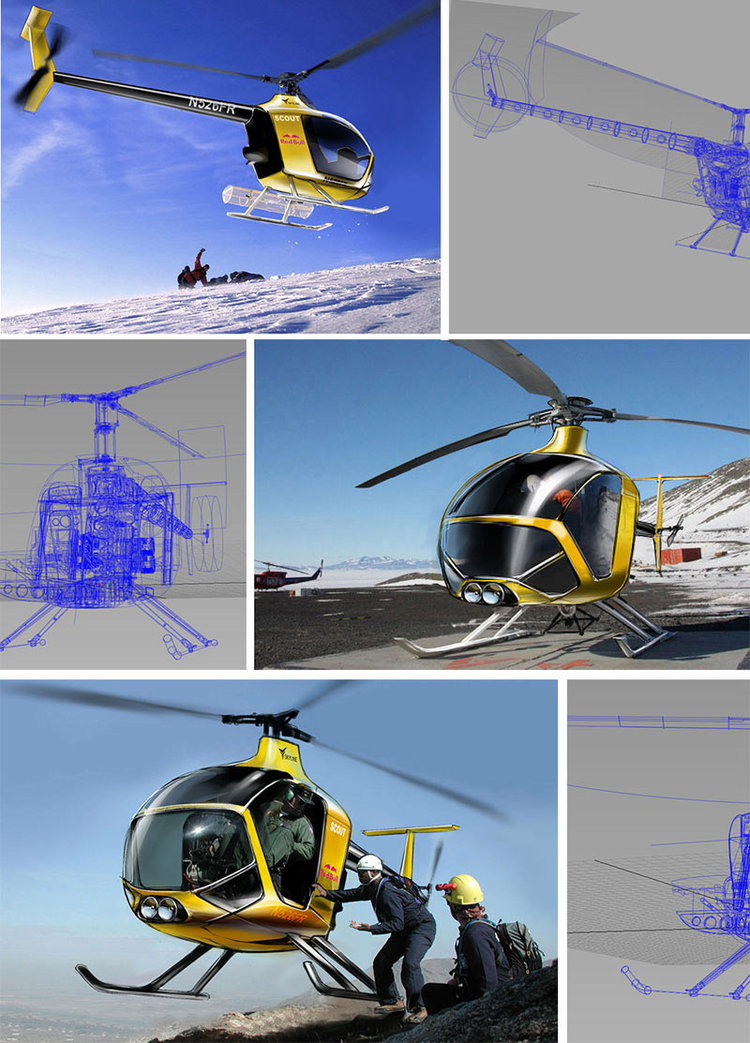 presentation sketch of the helicopter in situé, drawn over cad models provided by horizont to keep things fast and fresh