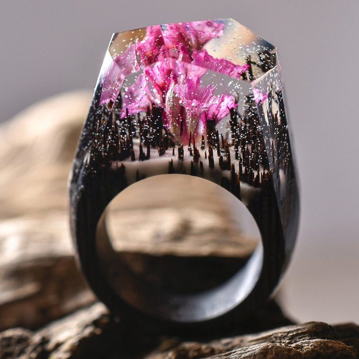 New Miniature Worlds Encased Into Wooden Rings By Secret