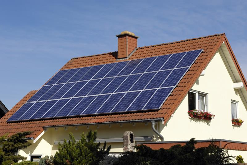 solar panels atop of Eco friendly Home