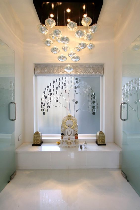 Pooja room design white marble