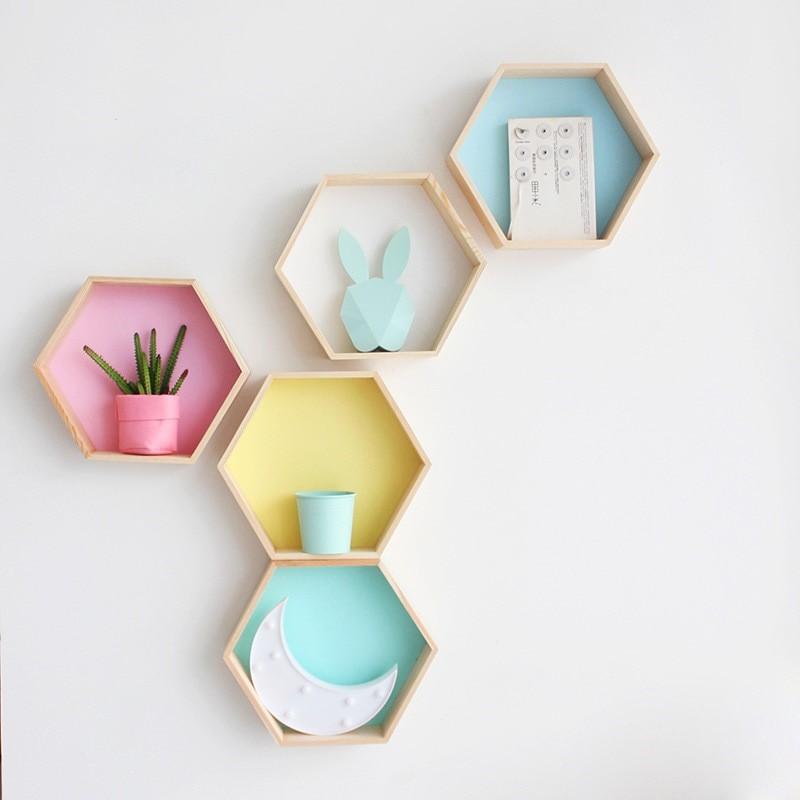Hexagonal Wall Shelves wooden
