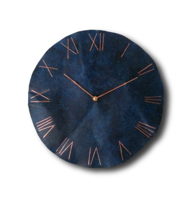 Navy Blue Copper Wall Clock
