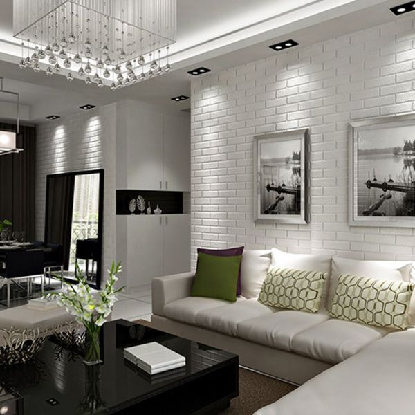Serenity in white tiles wall interiors