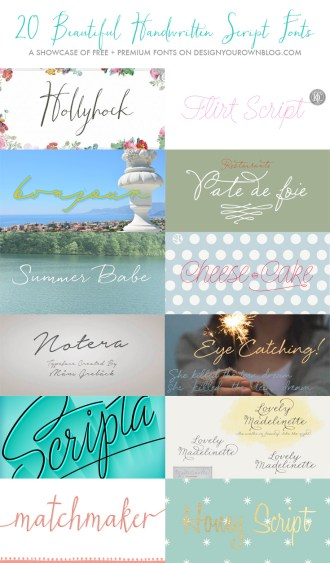 20 Beautiful Handwritten Script Fonts - FREE and premium font showcase on DesignYourOwnBlog.com