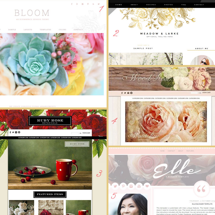 Florals and botanicals are a blog design trend for 2015. See more trends at www.DesignYourOwnBlog.com!