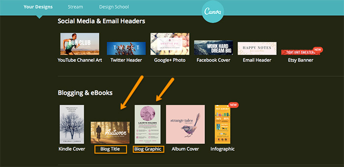 Use Canva's Blog Title templates for Twitter, Facebook and LinkedIn. Use the Blog Graphic template for Pinterest and Google+