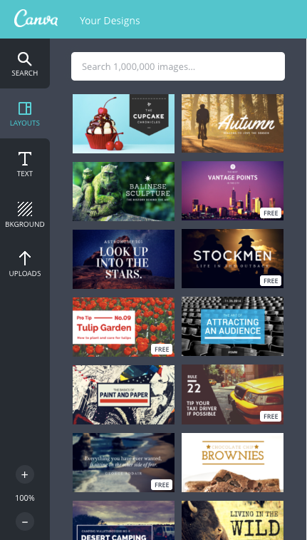 Once you establish if your blog title image should be horizontal or vertical, then you can choose the design template you need in Canva.