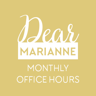 Dear Marianne - monthly office hours for personalized blog design feedback. Every first Friday at DesignYourOwnBlog.com!