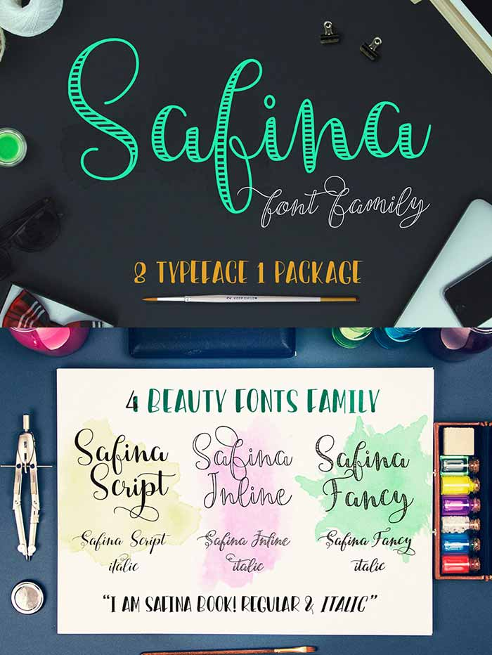 Typographer's Dream Bundle includes 33 fonts for $29, save 99%! Includes this beautiful hand-drawn script font, Safina.
