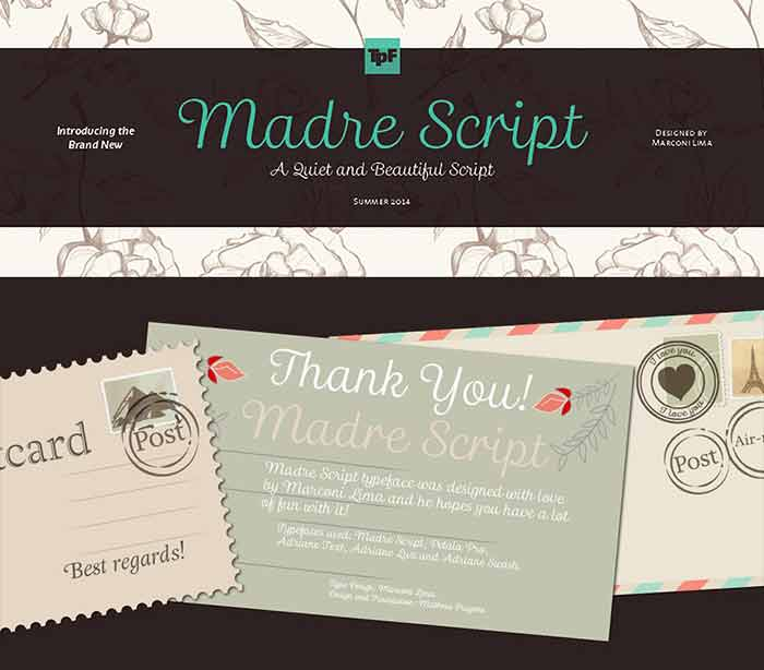 Madre Script font from Typefolio is 1 of 20 professional fonts you can get for just $29!