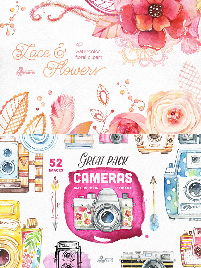 Hand Drawn Design Trend in the Digital Designer's Artistic Toolkit. Lace & Flowers – Floral clipart and Cameras clipart from Octopus Artis. Find more on www.DesignYourOwnBlog.com