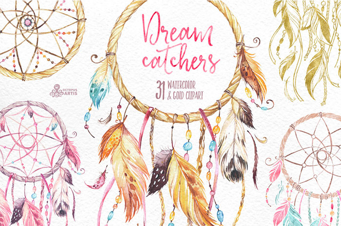 Hand-crafted illustrations bundle! TONS of Watercolor designs included like these gorgeous dream catcher watercolor graphics. Full licensing included. Grab yours before it's gone! dreamcatchers feathers tribal aztec boho