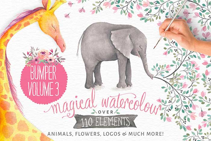 Hand-crafted illustrations bundle! TONS of Watercolor designs included like these gorgeous magical watercolor zoo animal and flower graphics. Full licensing included. Grab yours before it's gone! Floral hand-painted hand-drawn