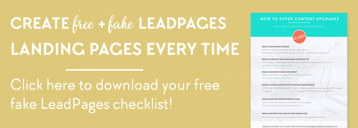 How to create a fake LeadPages landing page using ConvertKit and a free WordPress plugin! Check out the full tutorial and get your free checklist on www.DesignYourOwnBlog.com/fakeleadpages!