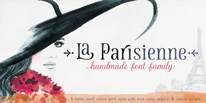La Parisienne by My Creative Land, a beautiful hand-drawn, handwritten font. One of the font types I recommend for feminine designs in this roundup of 9 feminine font trends for 2016.