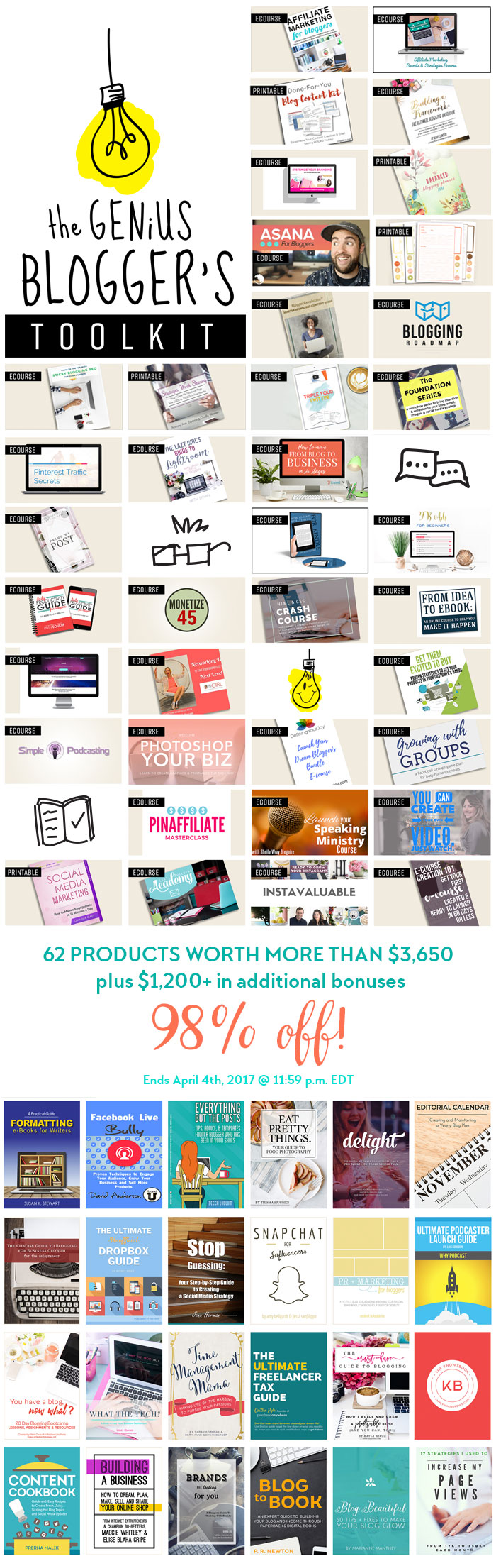 The Genius Blogger's Toolkit is a bundle of 24 ebooks, 33 ecourses + audio and 5 printable packs (and 17 bonuses) that's only available for TWO DAYS: April 3 - April 4, 2017. The best part is that the entire bundle (worth well over $5000) is only $97!! Yep, that's not a typo! Click here right now to get in on it before it's gone forever.