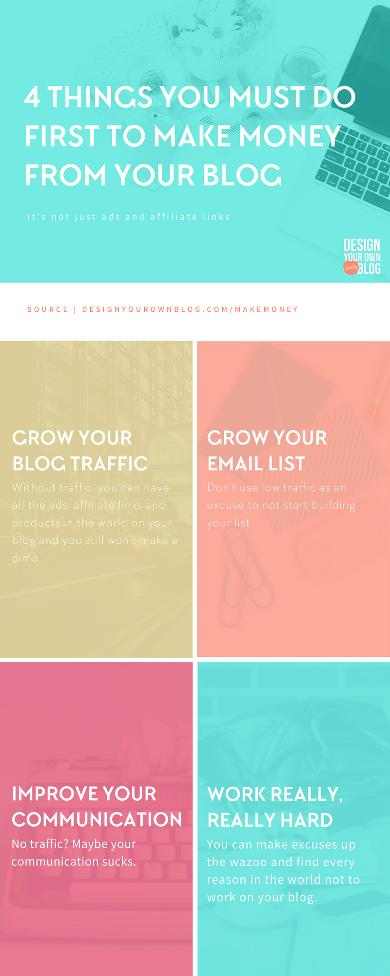 Have you struggled to make money from your blog? If so, this is the post for you, because I want to share four things you're probably not doing that explain why and what to do about it to start earning money from your blog soon. 4 Things You Must Do First to Make Money from Your Blog.