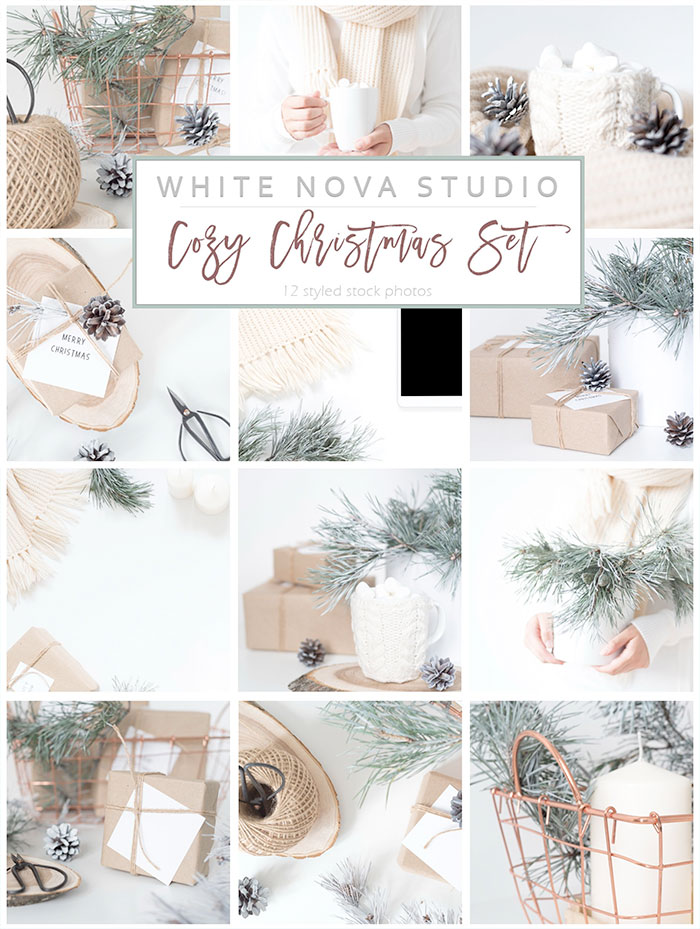 Cozy Christmas Set of Styled Stock Photography - roundup of Christmas and holiday graphics for your holiday blog posts and social media posts!