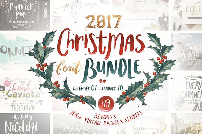 2017 Christmas Font Bundle includes 31 fonts plus 100+ vintage badges + stickers - A roundup of Christmas and holiday graphics and fonts for your holiday blog posts and social media posts!