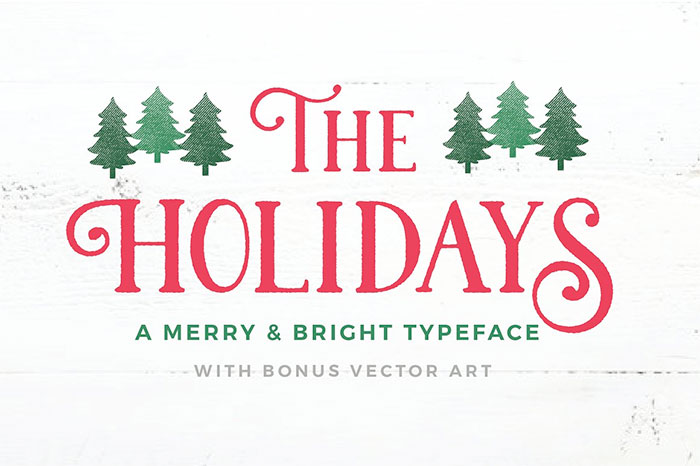 The Holidays - A Merry + Bright Typeface. A roundup of Christmas and holiday graphics and fonts for your holiday blog posts and social media posts!
