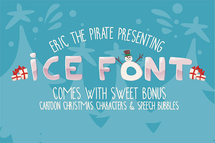 Ice Cartoon Font with Christmas characters and speech bubbles and A roundup of Christmas and holiday graphics and fonts for your holiday blog posts and social media posts!