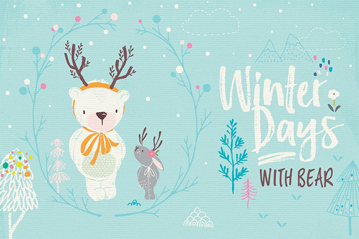 Winter Days with Bear - create some adorable holiday cards or graphics with these cute illustrated graphics of bears, rabbits, and other woodland animals and flowers.  A roundup of Christmas and holiday graphics for your holiday blog posts and social media posts!