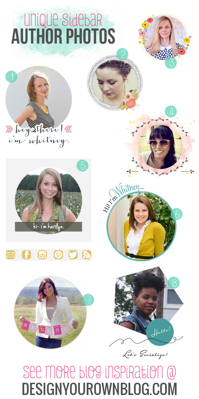 Blog sidebar author bios and photos - a showcase of pretty ones on DesignYourOwnBlog.com