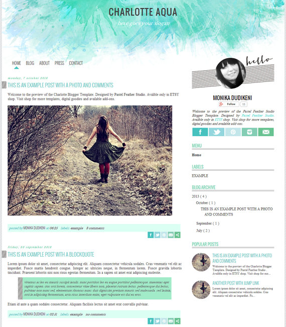 The Charlotte Blogger template in aqua. See more watercolor themes and templates at DesignYourOwnBlog.com
